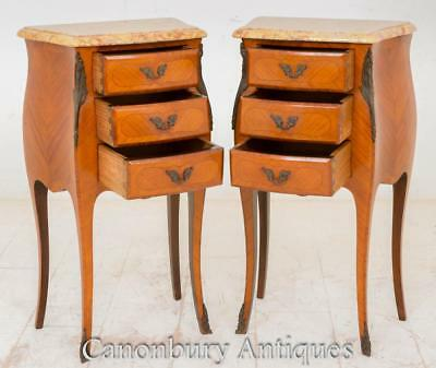 Pair Kingwood French Antique Empire Bedside Chests Cabinets