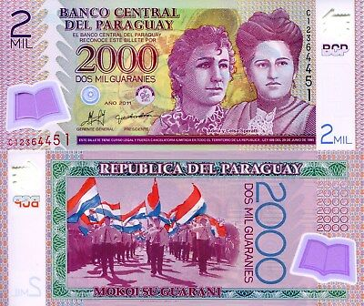 PARAGUAY 2000 Guaranies Banknote World Paper Money UNC Currency Pick p228c 2011