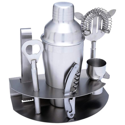 Professional Stainless Steel Bartender Martini Cocktail Shaker Mixer Set 7pc
