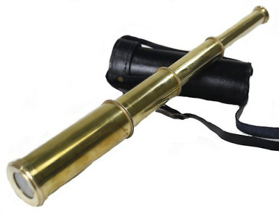 """Telescope Solid Brass Hand Held Pirate Spyglass w/ Leather Case 15"""" Long New"""