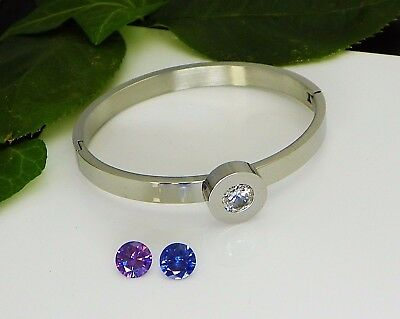 8mm Round Interchangeable Stainless Steel Bracelet Setting with CZ Gemstones