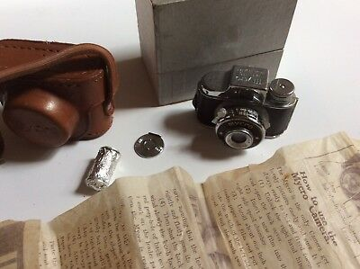Mycro Made In Japan Subminiature Camera W/ Box Case Instructions Film Vintage