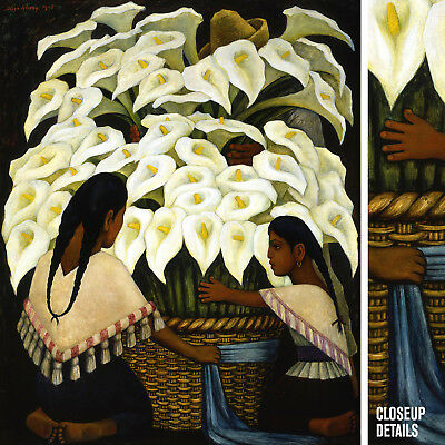 "32W""x40H"" CALLA LILY VENDOR by FRIDA KAHLO and DIEGO RIVERA - CHOICES of CANVAS"