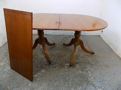 reproduction,georgian,style,yew,D end,extending,dining table,twin pedestal,table