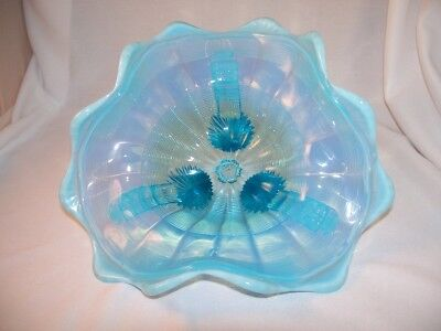 Northwood Klondike Blue Opalescent Ruffle Footed Bowl Dish 3 Feet Ribbed Line NR