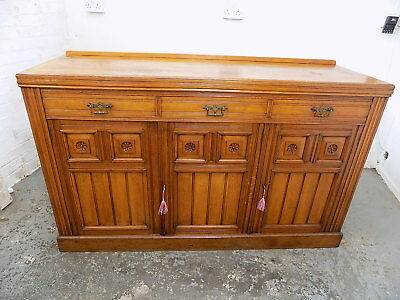 edwardian,antique,walnut,sideboard,drawers,shelves,cupboard,carved,3 drawers,