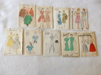Lot of 9 Vintage SEWING PATTERNS Womens 1940s 1950s Pants Playsuits Blouses