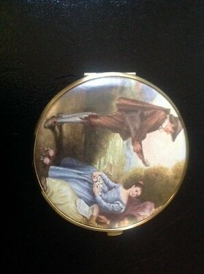 Vintage  Vanity Compact With Enameled Picture, Western Germany