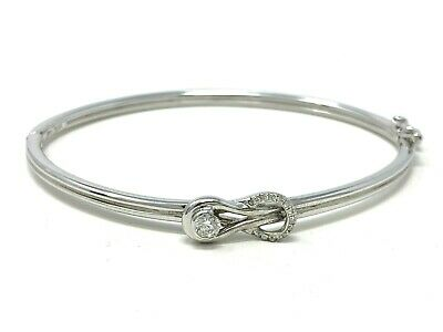 925 Sterling Silver Love Knot with 0.20 CTW Real Diamonds Bangle Bracelet Size7