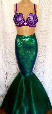 USA Expedite Shipping - Womens Ariel Mermaid Halloween Costume Sequin Skirt
