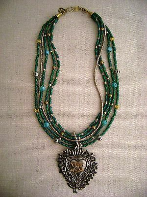 Milagro Devotional Sacred Heart Pendant Necklace Mexican Folk Art Signed GB