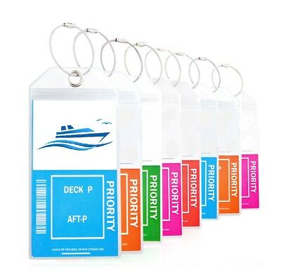 Cruise Luggage Tags Etag Holders Zip Seal & Steel Loops Thick PVC 4 or 8 packs