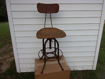 Vtg Toledo Industrial Drafting Stool Chair Factory Swivel Loft UHL Plywood Old