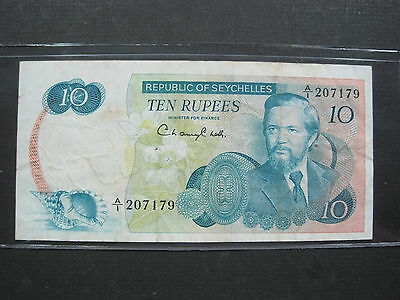 Seychelles 10 Rupees 1976 P19 #a Island Boat Beach World Banknote Paper Money
