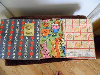 Lot of Vintage All Occasion Gift Wrap Wrapping Paper