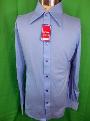 Vintage 1970s Askow Blue Poly/Cotton Stretch Fabric Body Shirt L NOS NEVER WORN!