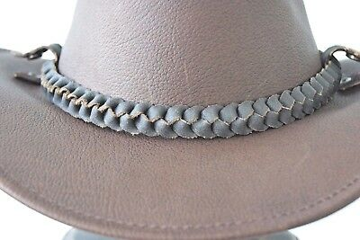 Genuine Thick Leather hat band  Brown Plait Adjustable JACARU badge included