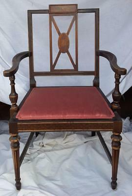 Gorgeous Antique Arm Chair - Solid Wood - Great Moire Upholstery  Painted Design