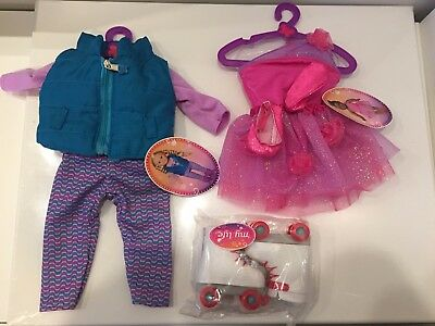 My Life As Doll Accessories Purple Kitty Outfit Pink Ballet Dress Roller Skates