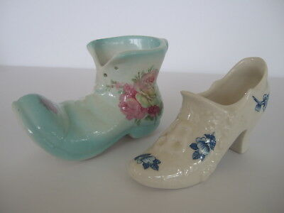 Pair VTG  Old Foley Staffordshire China Porcelain Shoe Collectible Figurines