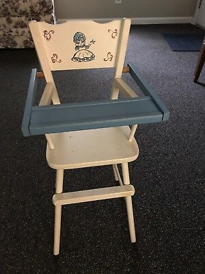 VINTAGE DOLL HIGH CHAIR White and Blue Holly Hobbie Made In USA CASS TOYS