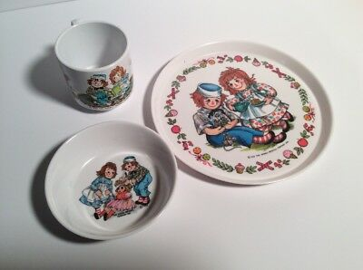 Vintage Raggedy Ann & Andy Children's Dish Set Oneida Plate, Bowl, Cup