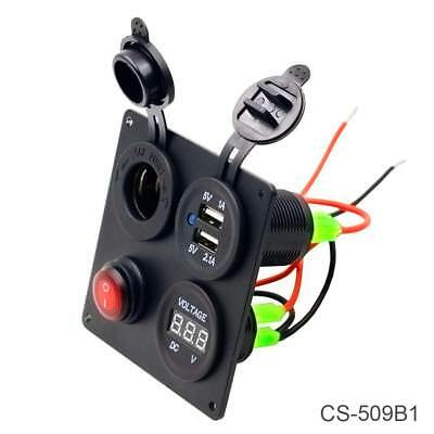 Dual USB CAR Charger Cigar Lighter Voltage Voltmeter Switch Combination Panel