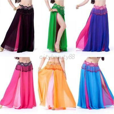 US Belly Dance Costume Full Skirt With 2 side slit Dress 8 colors Professional