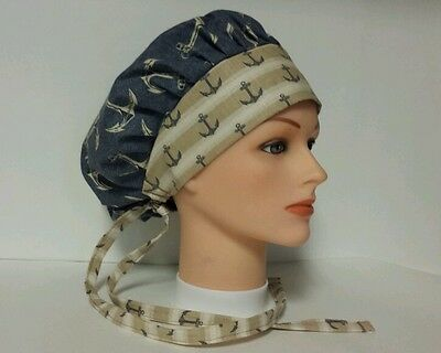 Sea Anchors  / Bouffant   Scrub Surgical / Medical /ponytail  / Caps
