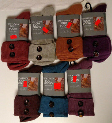 Simply Noelle Women's Crew Length Boot Socks Solid Button Foldover - New!