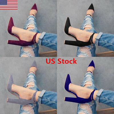 US New Women Lace Up Block Heel Ladies Chunky Sole Block High Heel Sandals Shoes