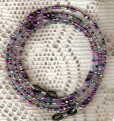 "Eyeglass Chain~Pretty Purple Mixture~4mm Crystals~Hand beaded~28""Buy 3 SHIP FREE"