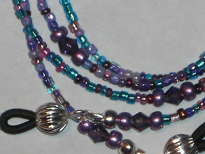 "Eyeglass Chain~Purple/Aqua Mix~28""~Crystal Accents~Fancy Ends~BUY 3 SHIP FREE"