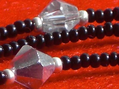 Eyeglass Chain~Handmade USA~6mm Crystal Accent~Black w/Silver~28~Buy 3 SHIP FREE
