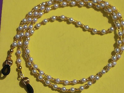"Eyeglass Chain~Dressy~Pearl & Gold~with 14 kt GP ends~28""~NEW~ Buy 3 SHIP FREE"