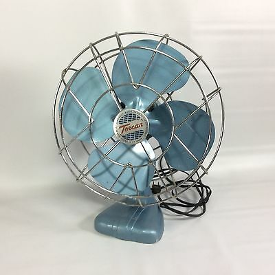 TORCAN Vintage Oscillating Fan Rotor Electric Co Toronto 1066M Blue Retro MCM