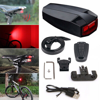 USB Smart Anti-theft Wireless Bike Bicycle Alarm Tail Rear light Remote Control