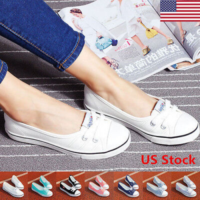 US New Women's Canvas Slip-On Classic Shoes Fashion Casual Flat Shoes 6 Colors