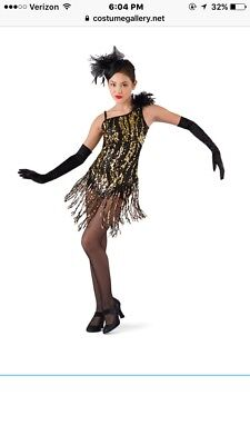 Dance Costume Black And Gold Sequin Size L Child