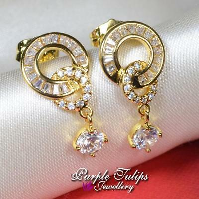 18CT Yellow Gold Filled Circle Dangle Stud Earrings Made With Swarovski Crystal