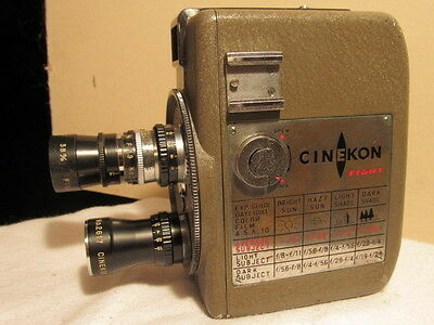 CINEKON EIGHT  : Vintage 8mm  MOVIE Camera  3 Lens'  Leather Case well Cared For