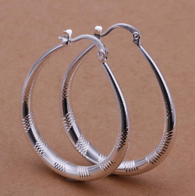 Womens 925 Sterling Silver Classic 39mm Oval Shaped Vogue Hoop Earrings #E78