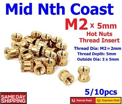 5/10pcs M2x5mm Hot Nuts Brass Thread Inserts 3D Printing/Injection Moulding