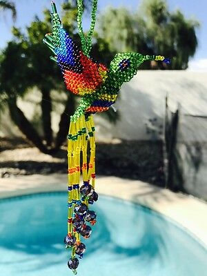 Handmade Guatemalan Beaded Hummingbird Ornament Gift Decoration Sun Catcher