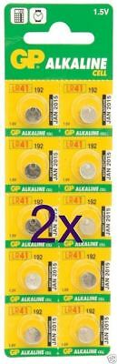 [2 x 10 pack] GP Alkaline Cell Battery LR41 192 1.5V (x20) [005626]