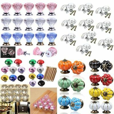 Diamond Door New Crystal Glass Pull Drawer Cabinet Furniture Handle Knob Screw