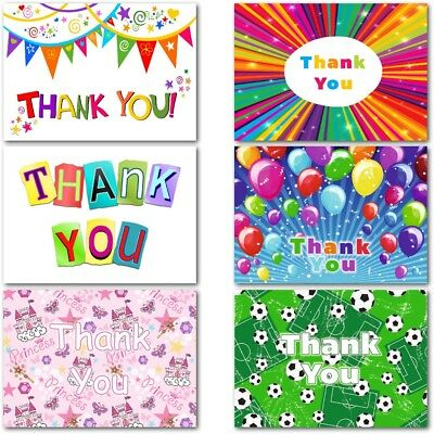 Pack 20 Thank You Cards Thankyou Postcards Notes Pads Childrens Kids Boys Girls