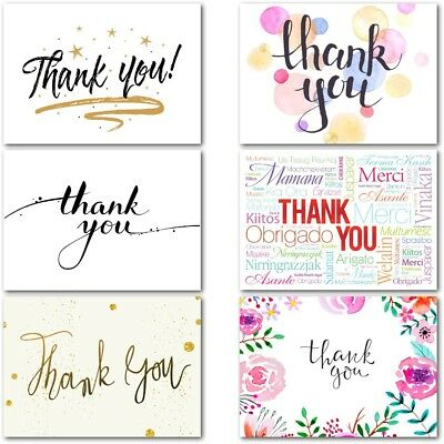 Pack of 20 Thank You Cards Thankyou Postcards Notes Pads Adults Mens Ladies