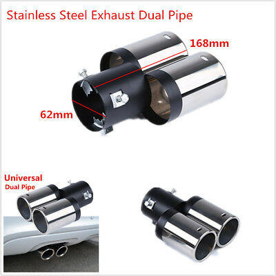 Car Universal Chrome Stainless Steel Exhaust Muffler Tip Pipe Y-Pipe Dual Pipes