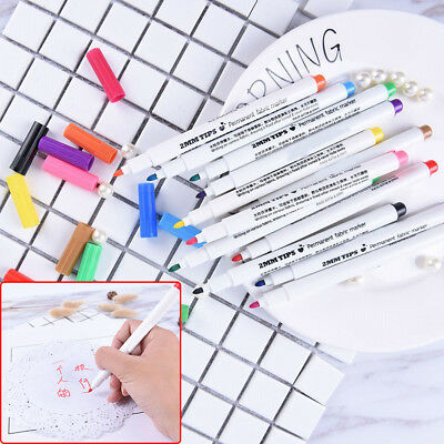 T-Shirt Permanent Fabric Paint Marker Pen Textile Clothes Shoes DIY 12 ColorATAU